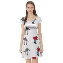 Hotline Bling White Background Short Sleeve Skater Dress by Onesevenart