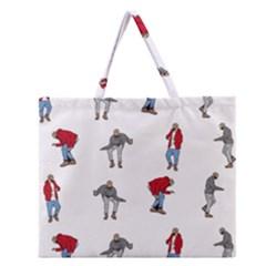 Hotline Bling White Background Zipper Large Tote Bag by Onesevenart