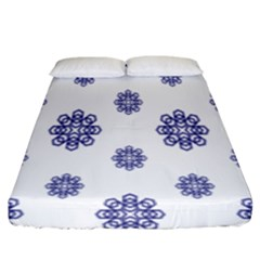 Snow Blue White Cool Fitted Sheet (king Size) by Alisyart