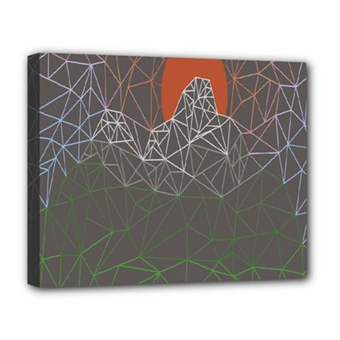 Sun Line Lighs Nets Green Orange Geometric Mountains Deluxe Canvas 20  x 16