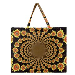 Psychedelic Sunflower Zipper Large Tote Bag by Photozrus