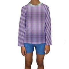 Mardi Gras Purple Plaid Kids  Long Sleeve Swimwear by PhotoNOLA