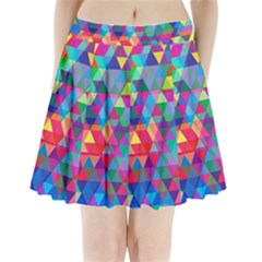Colorful Abstract Triangle Shapes Background Pleated Mini Skirt by TastefulDesigns