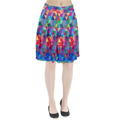 Colorful Abstract Triangle Shapes Background Pleated Skirt by TastefulDesigns