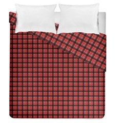 Red Plaid Duvet Cover Double Side (Queen Size) by PhotoNOLA