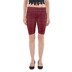 Red Plaid Yoga Cropped Leggings by PhotoNOLA