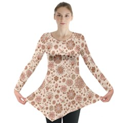 Retro Sketchy Floral Patterns Long Sleeve Tunic  by TastefulDesigns