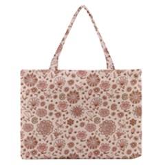 Retro Sketchy Floral Patterns Medium Zipper Tote Bag by TastefulDesigns
