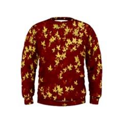 Background Design Leaves Pattern Kids  Sweatshirt by Simbadda