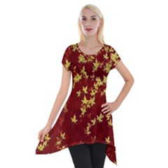 Background Design Leaves Pattern Short Sleeve Side Drop Tunic