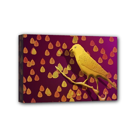 Bird Design Wall Golden Color Mini Canvas 6  X 4  by Simbadda