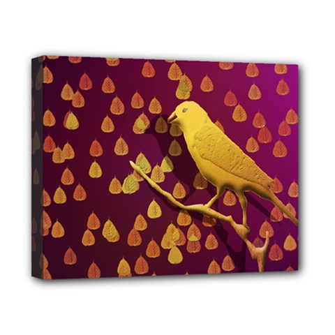 Bird Design Wall Golden Color Canvas 10  X 8  by Simbadda