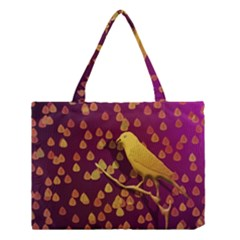 Bird Design Wall Golden Color Medium Tote Bag by Simbadda