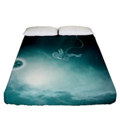 Astronaut Space Travel Gravity Fitted Sheet (queen Size) by Simbadda