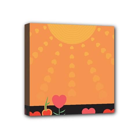 Love Heart Valentine Sun Flowers Mini Canvas 4  X 4  by Simbadda