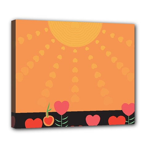 Love Heart Valentine Sun Flowers Deluxe Canvas 24  X 20   by Simbadda