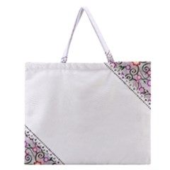 Floral Ornament Baby Girl Design Zipper Large Tote Bag