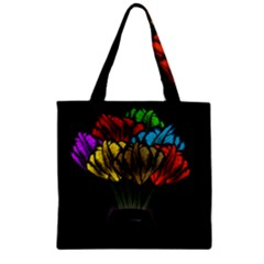 Flowers Painting Still Life Plant Zipper Grocery Tote Bag by Simbadda
