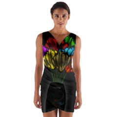 Flowers Painting Still Life Plant Wrap Front Bodycon Dress by Simbadda