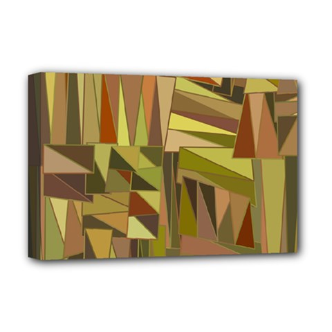 Earth Tones Geometric Shapes Unique Deluxe Canvas 18  X 12   by Simbadda