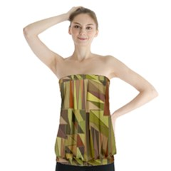 Earth Tones Geometric Shapes Unique Strapless Top by Simbadda