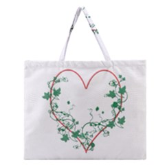 Heart Ranke Nature Romance Plant Zipper Large Tote Bag by Simbadda