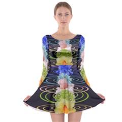 Chakra Spiritual Flower Energy Long Sleeve Skater Dress