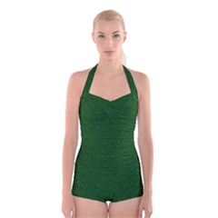 Texture Green Rush Easter Boyleg Halter Swimsuit  by Simbadda