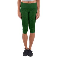 Texture Green Rush Easter Capri Yoga Leggings by Simbadda