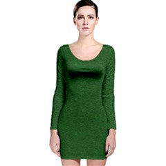 Texture Green Rush Easter Long Sleeve Velvet Bodycon Dress by Simbadda
