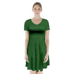 Texture Green Rush Easter Short Sleeve V Neck Flare Dress by Simbadda