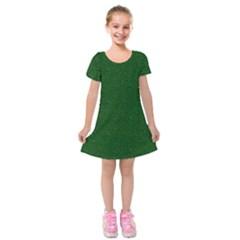 Texture Green Rush Easter Kids  Short Sleeve Velvet Dress by Simbadda