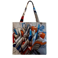 Abstraction Imagination City District Building Graffiti Zipper Grocery Tote Bag by Simbadda