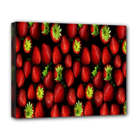 Berry Strawberry Many Deluxe Canvas 20  x 16   by Simbadda