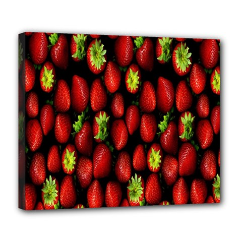 Berry Strawberry Many Deluxe Canvas 24  X 20   by Simbadda