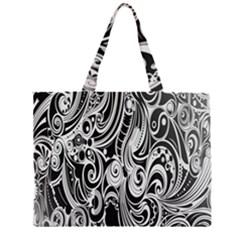 Black White Pattern Shape Patterns Zipper Large Tote Bag by Simbadda
