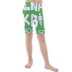 Bicycle Walk Bike School Sign Green Blue Kids  Mid Length Swim Shorts by Alisyart