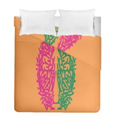 Brian Pink Green Orange Smart Duvet Cover Double Side (Full/ Double Size) by Alisyart