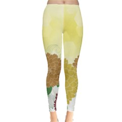 Abstract Flowers Sunflower Gold Red Brown Green Floral Leaf Frame Leggings  by Alisyart