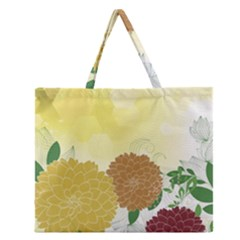Abstract Flowers Sunflower Gold Red Brown Green Floral Leaf Frame Zipper Large Tote Bag by Alisyart