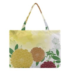 Abstract Flowers Sunflower Gold Red Brown Green Floral Leaf Frame Medium Tote Bag by Alisyart
