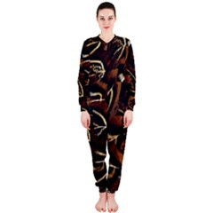 Feathers Bird Black Onepiece Jumpsuit (ladies)