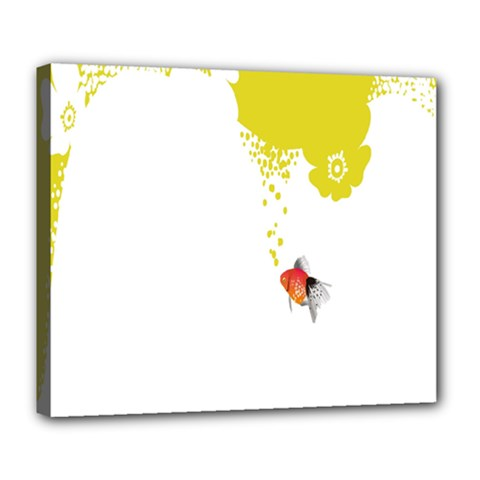 Fish Underwater Yellow White Deluxe Canvas 24  X 20   by Simbadda