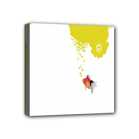 Fish Underwater Yellow White Mini Canvas 4  X 4  by Simbadda