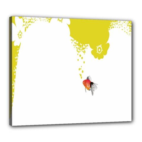 Fish Underwater Yellow White Canvas 24  X 20  by Simbadda