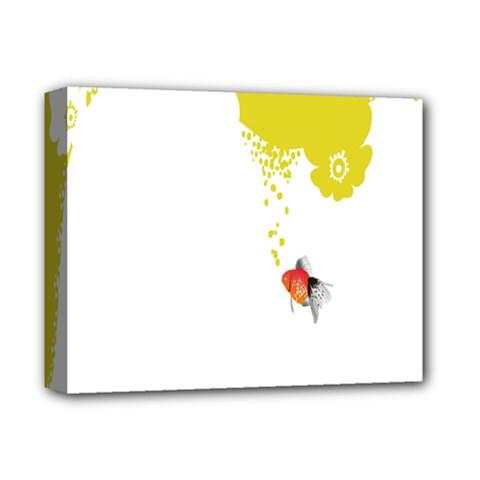 Fish Underwater Yellow White Deluxe Canvas 14  X 11  by Simbadda