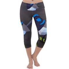 Animals Bird Green Ngray Black White Blue Capri Yoga Leggings by Alisyart