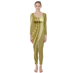 Golden Wave Floral Leaf Circle Long Sleeve Catsuit by Alisyart