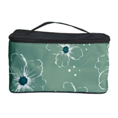 Floral Flower Rose Sunflower Grey Cosmetic Storage Case by Alisyart