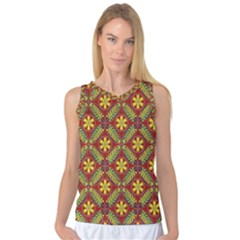 Abstract Yellow Red Frame Flower Floral Women s Basketball Tank Top by Alisyart